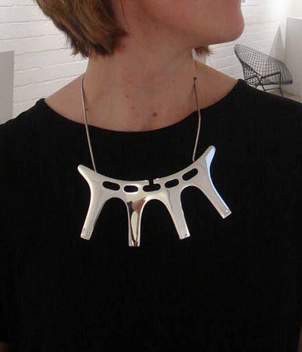 Double Deer Necklace, Wearable Sculpture