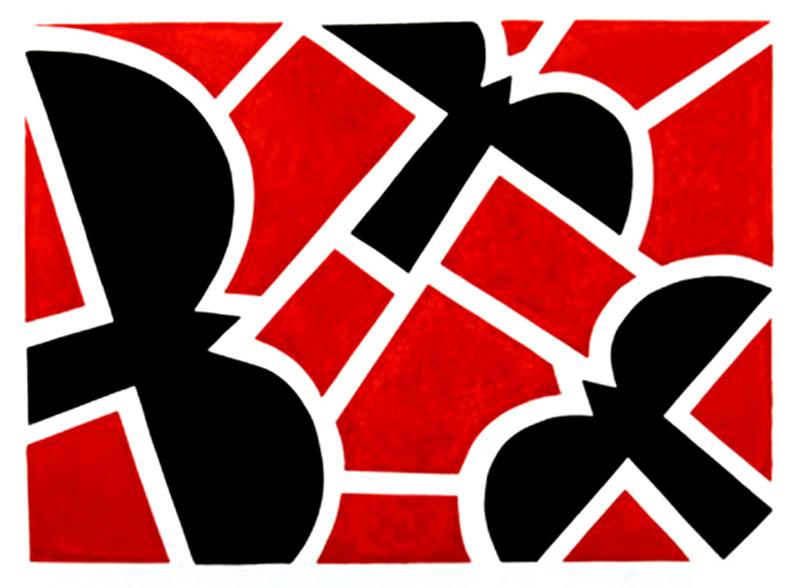 Black Wings, Red Fields Print by Jon Buck